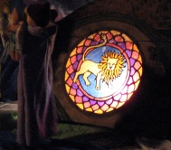 The Thought Lion stained glass window