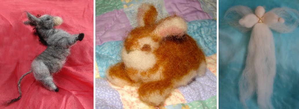Fiber arts needle felting roving